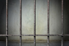 Old Prison Rusted Metal Bars Cell Lock With Dark And Bright In The Jail, Concept Of Strengthen And Protect