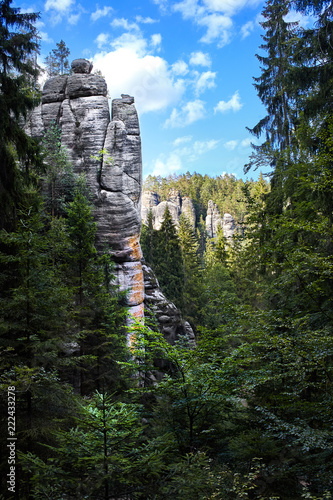 Photo  Spectacular Rock City in Adrspach, mountains, national park, Czech Republic
