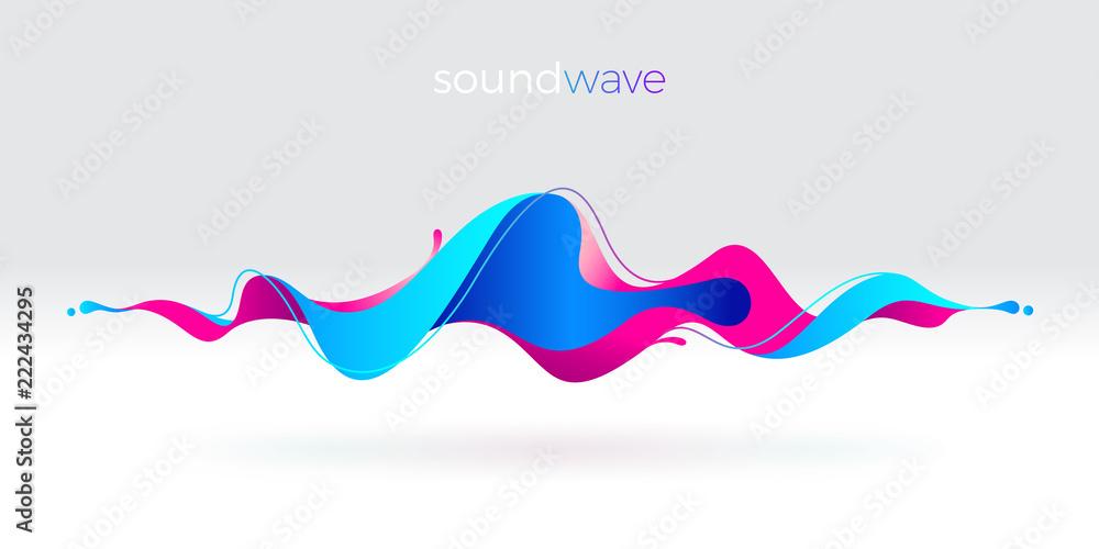 Fototapeta Multicolored abstract fluid sound wave. Vector illustration.