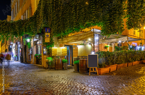 Night view of old street in Trastevere in Rome, Italy Canvas Print