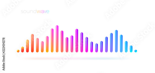 Multicolored sound wave equalizer. Vector illustration. Canvas Print