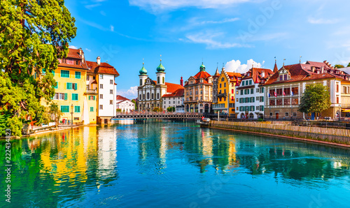 Printed kitchen splashbacks European Famous Place Old Town architecture of Lucerne, Switzerland