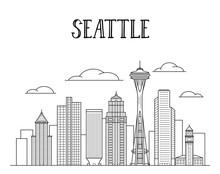 Seattle City Skyline Line Art ...