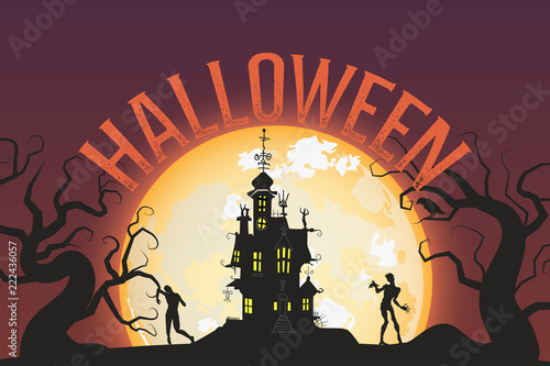 Foto auf AluDibond Gezeichnet Straßenkaffee Halloween Sale vector banner with lettering and detailed engraving background. Pumpkin, crow, skull, cat hand drawn elements. Great for voucher, offer, coupon, holiday sale.