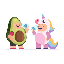 Girl In A Unicorn Costume And A Boy In Avocado Clothes Quench Thirst. Children Drink Water From Glass. Vector Cartoon Illustration Isolated On White Background.