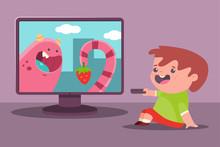 Little Boy Watch TV. Vector Ca...