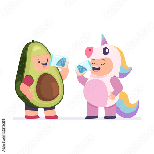 Girl in a unicorn costume and a boy in avocado clothes quench thirst Wallpaper Mural