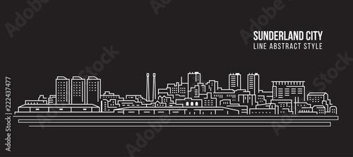 Cityscape Building Line art Vector Illustration design - Sunderland city Wallpaper Mural