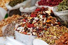 Tel Aviv, Israel. Dried Fruits, Nuts And Herbs For Tea Store At Popular Marketplace Carmel Market, Shuk HaCarmel