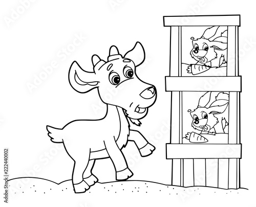 Tuinposter Doe het zelf cartoon scene with goat and rabbits eating carrots on white background - vector coloring page - illustration for children
