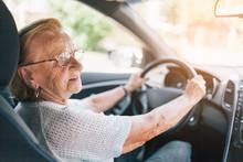 Elderly Woman Behind The Steer...