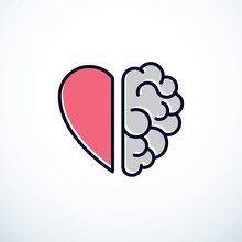 Heart And Brain Concept, Confl...