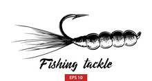 Vector Engraved Style Illustration For Posters, Decoration And Print. Hand Drawn Sketch Of Fishing Tackle In Black Isolated On White Background. Detailed Vintage Etching Style Drawing.