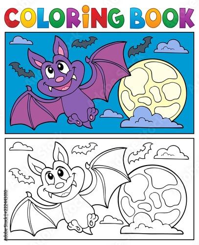 Spoed Foto op Canvas Voor kinderen Coloring book cartoon bat 1