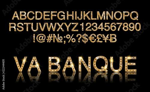 Cuadros en Lienzo  Vegas Casino or Retro Broadway Style Night Font.