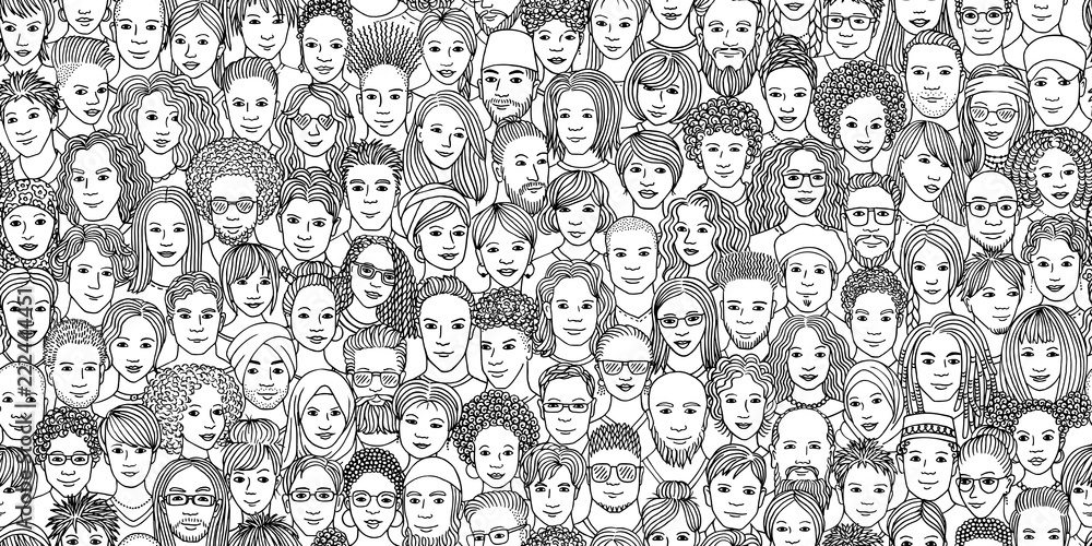 Fototapeta Diverse crowd of people - seamless banner of 100 different hand drawn faces of various ethnicities