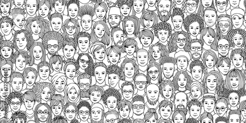 Fototapeta Diverse crowd of people - seamless banner of 100 different hand drawn faces of various ethnicities obraz