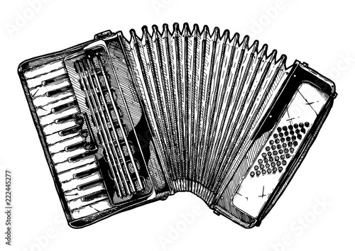 Fotografía Vintage illustration of piano accordion