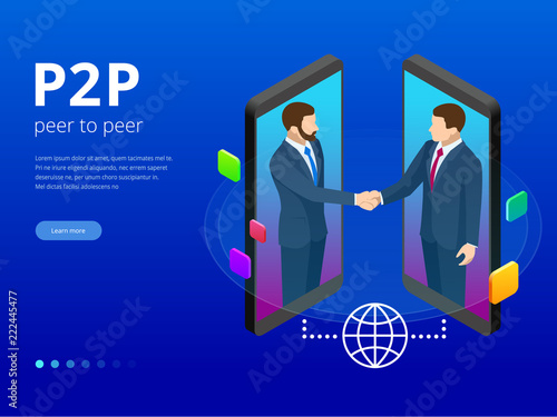 Photo Isometric Peer to peer and Fintech concept
