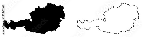 Obraz Simple (only sharp corners) map of Austria vector drawing. Mercator projection. Filled and outline version. - fototapety do salonu