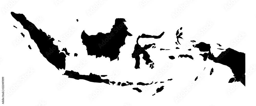 Fototapeta Simple (only sharp corners) map of Indonesia vector drawing.