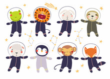Set Of Cute Funny Animal Astro...