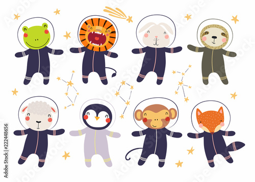 Photo Stands Illustrations Set of cute funny animal astronauts in space suits, with stars. Isolated objects on white background. Hand drawn vector illustration. Scandinavian style flat design. Concept for children print.