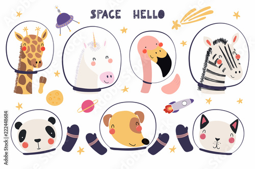 Printed kitchen splashbacks Illustrations Set of cute funny animal astronauts in space helmets, with stars. Isolated objects on white background. Hand drawn vector illustration. Scandinavian style flat design. Concept for children print.