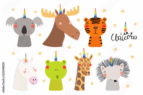 Printed kitchen splashbacks Illustrations Set of cute funny animals with unicorn horns, quote I am a unicorn . Isolated objects on white background. Hand drawn vector illustration. Scandinavian style flat design. Concept for children print.