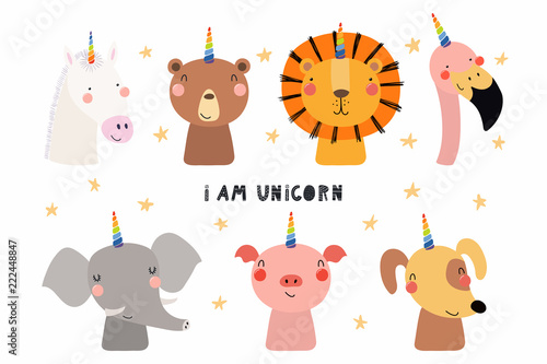 Set of cute funny animals with unicorn horns, quote I am unicorn . Isolated objects on white background. Hand drawn vector illustration. Scandinavian style flat design. Concept for children print.