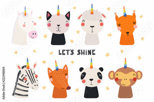 Photo Stands Illustrations Set of cute funny animals with unicorn horns, quote Lets shine . Isolated objects on white background. Hand drawn vector illustration. Scandinavian style flat design. Concept for children print.
