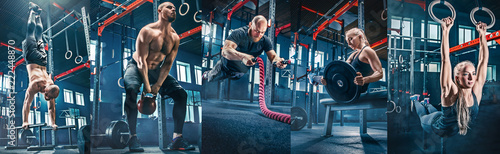 Poster Fitness Collage about men with battle rope and woman in the fitness gym. The gym, sport, rope, training, athlete, workout, exercises concept