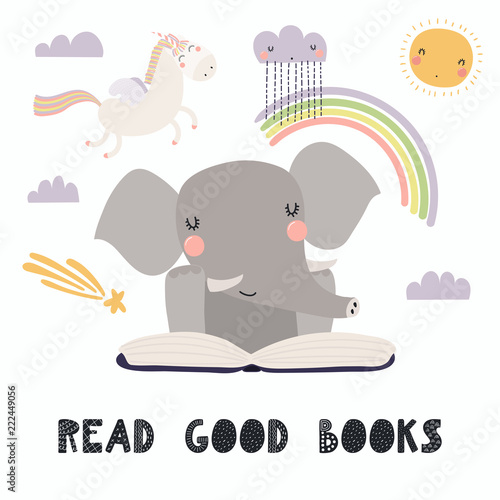 Good Background Reading For Seeing >> Hand Drawn Vector Illustration Of A Cute Funny Elephant Reading A