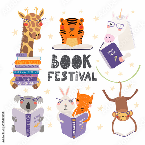 Set of cute funny animals with books, koala, tiger, unicorn, giraffe, monkey, squirrel, bunny. Isolated objects on white. Hand drawn vector illustration. Scandinavian flat design. Concept kids print