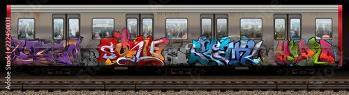 Spoed Foto op Canvas Graffiti Boston Redline Graffiti Train
