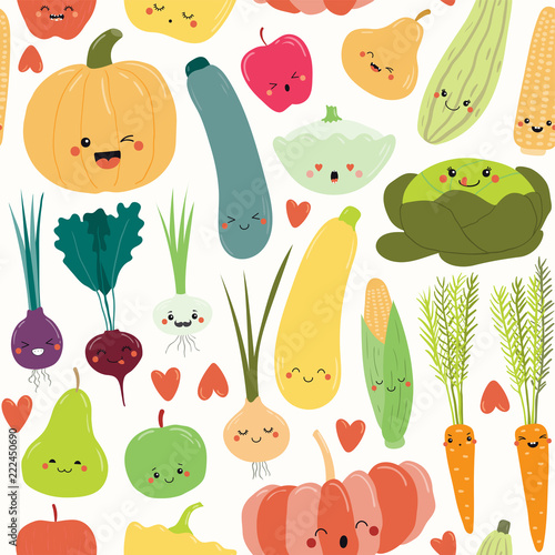 Seamless Repeat Pattern With Cute Funny Fruits And Vegetables Kawaii Faces Hand Drawn Vector