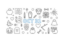 Oct 31 Holiday Vector Outline ...