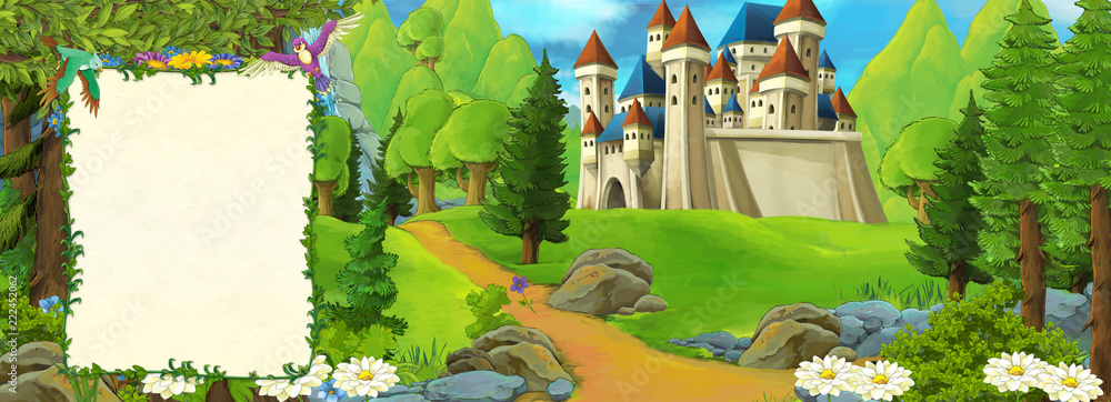 Fototapeta cartoon scene with beautiful medieval castle on the hill - with space for text - illustration for children