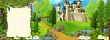 cartoon scene with beautiful medieval castle on the hill - with space for text - illustration for children