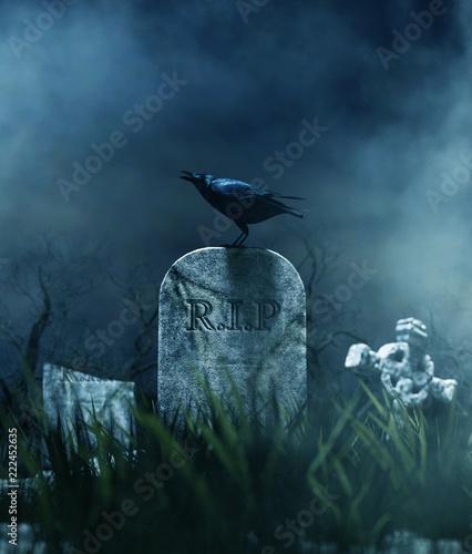 Crow on a gravestone in halloween night,3d illustration. Canvas Print