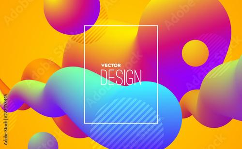 Fotobehang Pop Art Abstract 3d colorful shapes. Vector artistic illustration. Vibrant color gradient streams or cloud. Liquid blended fluids. Colorful splash. Creativity concept. Visual communication poster design