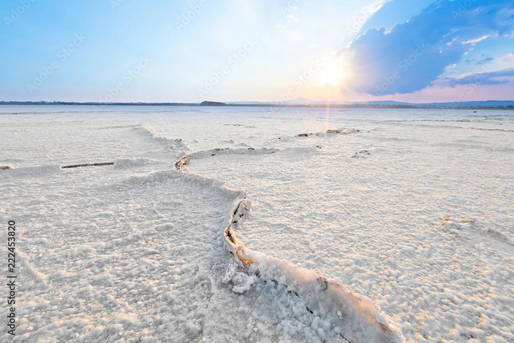 Сracks on the surface of the dried Larnaca salt lake, Cyprus