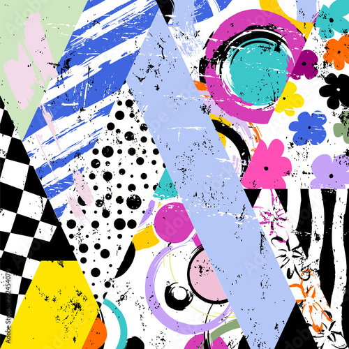 abstract vector art or background, circles, triangles, paint strokes and splashes, grungy style