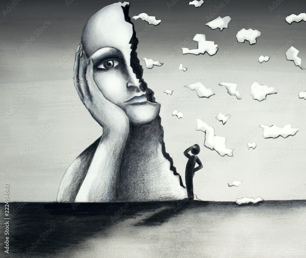 Fototapety, obrazy: Beautiful hand-made illustration on cardboard in a mixed-media tecnique representing an image of a face of a giant woman with a half-face falling apart and a stylized little man observing the scene