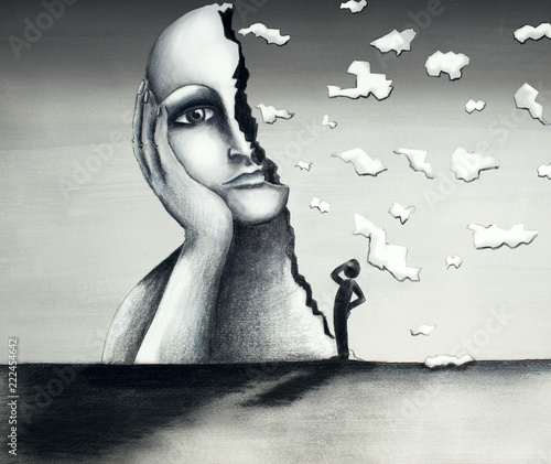Wall Murals Surrealism Beautiful hand-made illustration on cardboard in a mixed-media tecnique representing an image of a face of a giant woman with a half-face falling apart and a stylized little man observing the scene