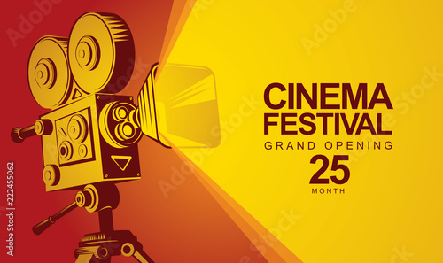 Photo  Vector cinema festival poster with old fashioned movie camera
