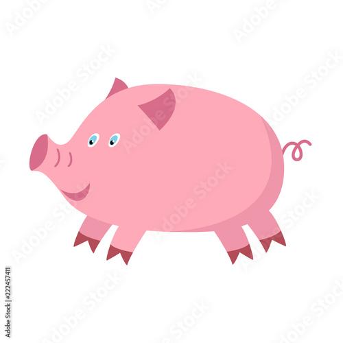 Little funny pig cartoon Wallpaper Mural