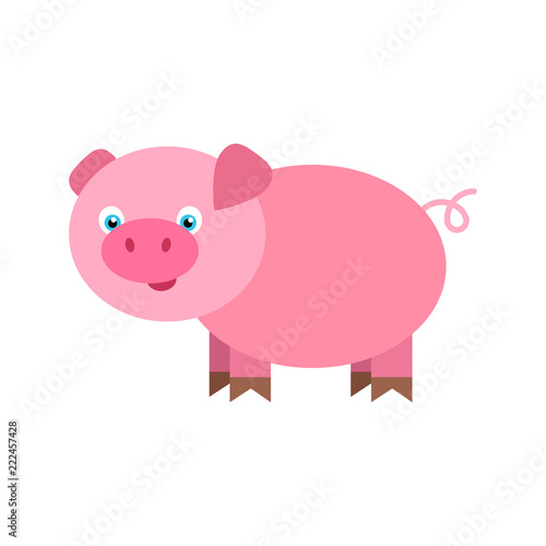 Photo Little funny pig cartoon