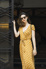 Beautiful Woman Wearing Yellow...
