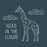 Illustration of abstract geometric giraffe with letting: Head in the clouds. Vector poster design. - 222459869